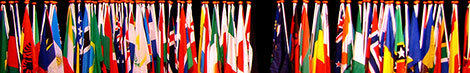 Flags from the conference with ratified the Rome Statute.