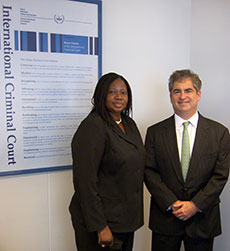 ICC Prosecutor Fatou Bensouda and Professor Richard Steinberg at the International Criminal Court in The Hague.