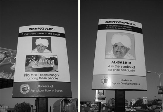 Billboards in Sudan attacking the ICC and Luis Moreno-Ocampo, its former chief prosecutor.